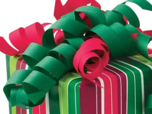 Christmas ribbon -- it looks delicious, but it is very dangerous and should never be eaten.